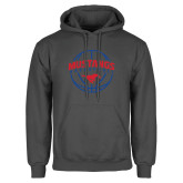 Charcoal Fleece Hoodie-Mustangs Basketball Arched w/ Ball