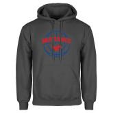Charcoal Fleece Hood-Mustangs Basketball Arched w/ Ball