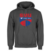 Charcoal Fleece Hoodie-SMU Basketball Stacked on Ball