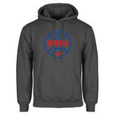 Charcoal Fleece Hoodie-SMU Basketball Block Stacked in Circle