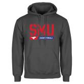Charcoal Fleece Hood-SMU Basketball Stencil