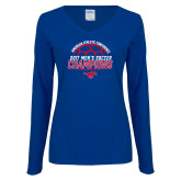 Ladies Royal Long Sleeve V Neck Tee-2017 Mens Soccer Champions