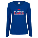 Ladies Royal Long Sleeve V Neck T Shirt-2017 Mens Soccer Champs