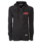 Ladies Under Armour Black Varsity Full Zip Hoodie-Block SMU