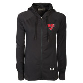 Ladies Under Armour Black Varsity Full Zip Hoodie-SMU w/Mustang
