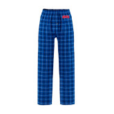 Royal/White Flannel Pajama Pant-Block SMU