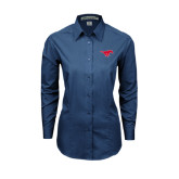Ladies Deep Blue Tonal Pattern Long Sleeve Shirt-Official Outlined Logo