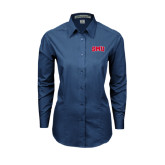 Ladies Deep Blue Tonal Pattern Long Sleeve Shirt-Block SMU
