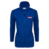 Columbia Ladies Full Zip Royal Fleece Jacket-2017 American Athletic Conference Champions - SMU Mens Basketball
