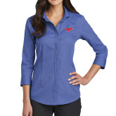Ladies Red House French Blue 3/4 Sleeve Shirt-Official Outlined Logo