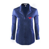 Ladies Red House Deep Blue Herringbone Non Iron Long Sleeve Shirt-Official Outlined Logo