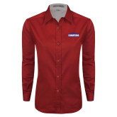 Ladies Red Twill Button Down Long Sleeve-2017 American Athletic Conference Champions - SMU Mens Basketball