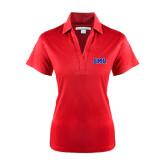 Ladies Red Performance Fine Jacquard Polo-Block SMU