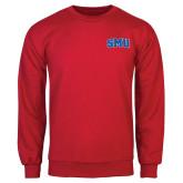 Red Fleece Crew-Block SMU