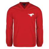 V Neck Red Raglan Windshirt-Official Logo