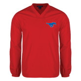 V Neck Red Raglan Windshirt-Official Outlined Logo