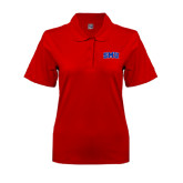 Ladies Easycare Red Pique Polo-Block SMU