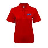 Ladies Easycare Red Pique Polo-Block SMU