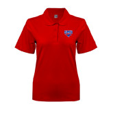 Ladies Easycare Red Pique Polo-SMU w/Mustang