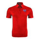 Red Horizontal Textured Polo-SMU w/Mustang