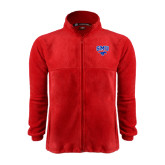 Fleece Full Zip Red Jacket-SMU w/Mustang