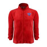 Fleece Full Zip Red Jacket-SMU w/Mustang