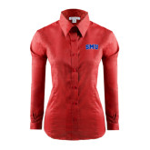 Ladies Red House Red Long Sleeve Shirt-Block SMU
