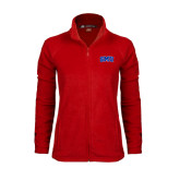 Ladies Fleece Full Zip Red Jacket-Block SMU