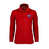 Ladies Fleece Full Zip Red Jacket-SMU w/Mustang