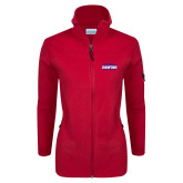 Columbia Ladies Full Zip Red Fleece Jacket-2017 American Athletic Conference Champions - SMU Mens Basketball