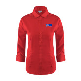 Ladies Red House Red 3/4 Sleeve Shirt-Block SMU