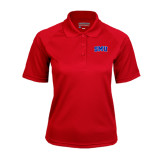Ladies Red Textured Saddle Shoulder Polo-Block SMU