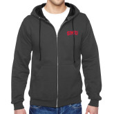Charcoal Fleece Full Zip Hoodie-Block SMU