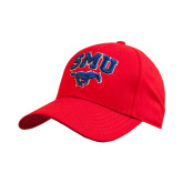 Red Heavyweight Twill Pro Style Hat-SMU w/Mustang