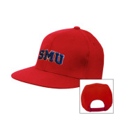 Red Flat Bill Snapback Hat-Block SMU