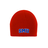 Red Knit Beanie-Block SMU