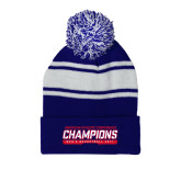 Royal/White Two Tone Knit Pom Beanie with Cuff-American Athletic Conference Champions - Mens Basketball 2017