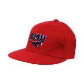 Red OttoFlex Flat Bill Pro Style Hat-SMU w/Mustang