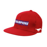 Red OttoFlex Flat Bill Pro Style Hat-2017 AAC Regular Season Champions Mens Basketball Flat