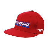 Red OttoFlex Flat Bill Pro Style Hat-American Athletic Conference Champions - Mens Basketball 2017