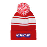 Red/White Two Tone Knit Pom Beanie with Cuff-American Athletic Conference Champions - Mens Basketball 2017