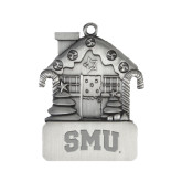 Pewter House Ornament-Block SMU Engraved