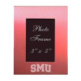 Pink Brushed Aluminum 3 x 5 Photo Frame-Block SMU Engraved