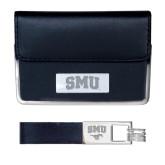 Business Card Case and Key Ring Set Black-Block SMU Engraved