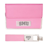 Business Card Case and Key Ring Set Pink-Block SMU Engraved