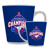 Full Color Latte Mug 12oz-2017 AAC Conference Champions - Mens Basketball Arched Net