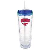 Tritan Double Wall Tumbler w/Blue Top 26oz-SMU w/Mustang