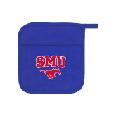Quilted Canvas Royal Pot Holder-SMU w/Mustang