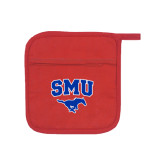 Quilted Canvas Red Pot Holder-SMU w/Mustang