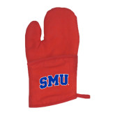 Quilted Canvas Red Oven Mitt-Block SMU